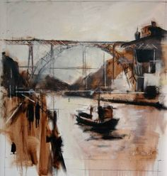 Buy Oporto´s Bridge, a Oil on Canvas by Javier Montesol from Spain. It portrays: Places, relevant to: river, boat, wine, bridge, spain, portugal, Dom Luis Bridge, Sandeman, Oporto Oil on canvas fixed on a wooden frame. Dom Luis Bridge over the Duero´s river, from the Oporto city, Portugal. I have stamped my painting with the Sandeman wine Logo. Sandeman is an wine icone from oporto.