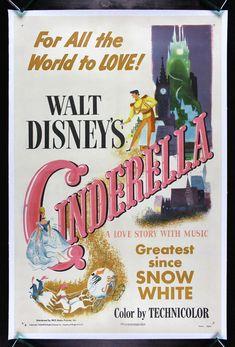 Original Vintage 1950 Cinderella Movie Poster, $1,595   18 Products For Hardcore Disney Princess Fans