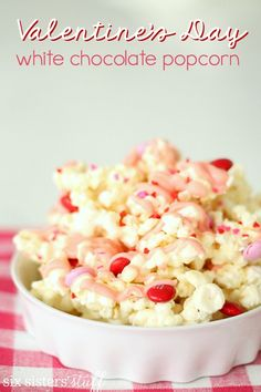 Valentine's Day White Chocolate Popcorn from SixSistersStuff.com