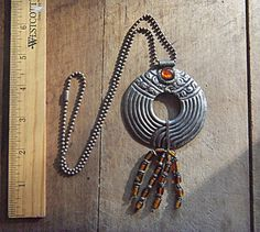Amazing Vintage Sterling Silver Amber Glass Art by AVINTAGEVAULT, $75.00