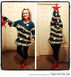 lol! christmas tree turns ugly sweater. #christmasparty #uglysweater