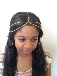 Gold Chain Head Jewelry Hair Chain #jewelry #hairchain #headjewelry $16