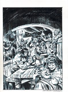 Great tavern scene from 'The Art of Comic Book Inking, 2nd Edition' - pencils by John Buscema, inks by Bill Reinhold