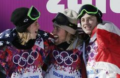 Sage Kotsenburg (center) celebrates with Norway's Staale Sandbech (left) and Canada's Mark McMorris after Kotsenburg won the men's snowboard slopestyle final in Sochi.
