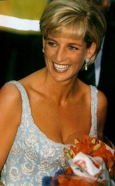 June 2, 1997: Diana, Princess of Wales attends Chritie's private viewing of her dresses for auction in London.