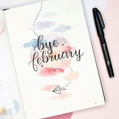 It's getting close to Valentine's Day. To be honest, I'm a little bit tired of all he hearts theme. This soft pink sky theme with the paper… February Bullet Journal, Bullet Journal Monthly Spread, Bullet Journal Notebook, Bullet Journal Ideas Pages, Bullet Journal Layout, Bullet Journal Inspiration, Pastel Clouds, Bullet Journal Aesthetic, Journal Themes