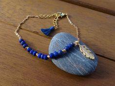 Lapis Lazuli Feather Charm Bracelet Gold Feather by cocolocca
