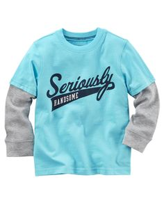 Toddler Boy Long-Sleeve Layered-Look Seriously Handsome Graphic Tee | Carters.com