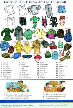 55 - EXERCISE CLOTHING AND OUTERWEAR - Pictures dictionary - English Study, explanations, free exercises, speaking, listening, grammar lessons, reading, writing, vocabulary, dictionary and teaching materials