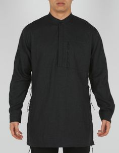 ae1245ee maharishi Kurta Shirt in Charcoal Flannel Wool. This fits comfortably into  my conception of cultural