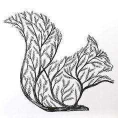 Squirrel Tree Tattoo Design