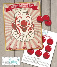 DIY Printable Pin the Nose on the Clown Vintage Style Circus Carnival Birthday Party Game - by Carta Couture on Etsy, $6.00