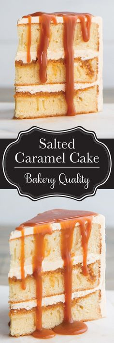 This vanilla and salted caramel cake is exactly the same as the one we spent 160 on at an upscale bakery Moist layers of vanilla sponge cake smothered with a homemade salted caramel sauce and surrounded with salted caramel buttercream Bakery Cakes, Food Cakes, Cupcake Cakes, 16 Cake, Birthday Cake Cupcakes, Birthday Cake Recipes, Bakery Style Cake, Butter Cupcakes, Baking Cupcakes