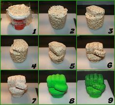 How to make a Hulk hand from Rice Krispies, step by step More