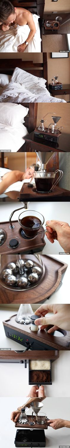This coffee-making alarm clock will wake you up with a freshly brewed mug, awesomeness at its finest
