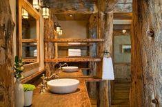 Rustic elegance re-defined in a Big Sky mountain retreat - Bathroom Ideas Rustic Bathrooms, Dream Bathrooms, Bathroom Layout, Small Bathroom, Bathroom Ideas, Bathroom Furniture, Bathroom Interior, Rustic Elegance, Modern Rustic