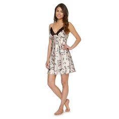 Pale pink butterfly print satin chemise