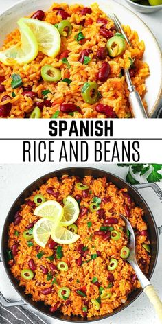 This Spanish Rice and Beans dish is a richly flavored, one-pot recipe that can be served as a side dish or amped up into a meal. It's easy to make, requires simple ingredients, and it'll be ready in under 40 minutes! Plus, it's filling, protein-packed, and perfect for meal prepping. #veganhuggs #riceandbeans #mexicanfood Vegan Lunch Recipes, Bean Recipes, Vegan Dinners, Vegan Food, Mexican Food Recipes, Spanish Rice And Beans, Spanish Rice Recipe, Pot Recipe, Recipe Ideas