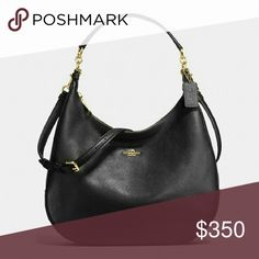 """Coach leather purse 100% authentic HARLEY HOBO IN PEBBLE LEATHER STYLE: WAS $425.00 Pebble leather Inside zip, cell phone and multifunction pockets Zip-top closure, fabric lining Handles with 11 3/4"""" drop Outside zip pocket Longer strap with 22 1/2"""" drop for shoulder or crossbody wear 14 1/4"""" (L) x 10"""" (H) x 4 1/2"""" (W) COLOR: IMITATION GOLD/BLACK Coach Bags Hobos"""