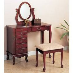 Coaster 300073 Traditional Vanity with 7 Drawers Mirror and Stool