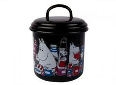 Black jar perfect for hiding away cookies and other goodies, features beloved Moomin characters. Muurla combines design with durability in this retro Moomin enamel jar. Moomin Shop, Japanese Gifts, Cute Characters, Goodies, Stationery, Enamel, Presents, Jar, Retro