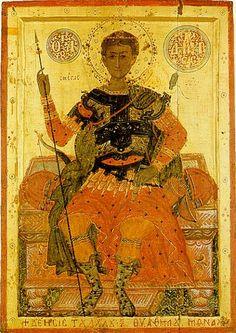St Demetrius of Thessalonica icon, cent17th, Mount Athos, Iviron monastery