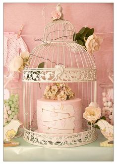 Love the way this cake is displayed in the bird cage!  Vintage Birdie Baby Shower with Such ADORABLE IDEAS via Kara's Party Ideas