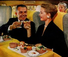 Oh, look! It's me & @Staci Schiller having a little nosh on our way to NYC for a little shopping.  (Airplane Meal Service c.1950s)