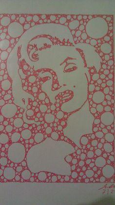 Marilyn in Red Fractal Art