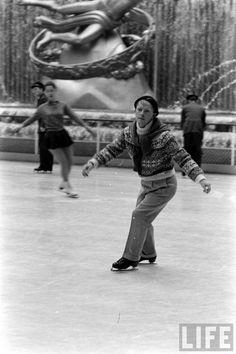 Truman Capote skating at Rockefeller Center, New York.