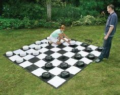 Giant outdoors checkers game