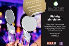 Constantinus Einreicher Workshop mit Tipps von Constantinus-Siegern Workshop, Salzburg, Social Media, Events, Sea, Event Calendar, Helpful Tips, Atelier, Work Shop Garage