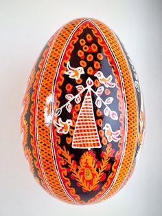 Pysanka Goose Egg Ornament - Design 11