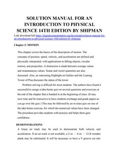 Solution manual for an introduction to physical science edition by shipman Physical Science, Physics, Manual, Positivity, Books, Free, Libros, Textbook, Book