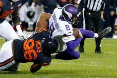 Monday Night Football: Vikings vs. Bears:   20-10, Bears  -     Mon. October 31, 2016. Chicago Bears defensive end Akiem Hicks (96) sacks Minnesota Vikings quarterback Sam Bradford (8) during the first half of an NFL football game in Chicago, Monday, Oct. 31, 2016.