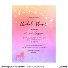 Unicorn purple pink Bridal Shower invitation Postcard Bridal Shower Invitations, Custom Invitations, Unicorn Wedding, Pastel Background, Wedding Stationary, Romantic Weddings, Postcard Size, Rainbow Colors, Pink Purple