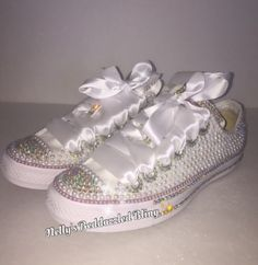 22967d3b4abf Bedazzled bling all star chuck taylors converse. white on white chucks   perfect for weddings or special events  Rhinestone and pearl chucks.