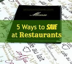 Keep your budget in check by using these 5 tips to save at restaurants.  Dine out for less! ...... Also, Go to RMR 4 awesome news!! ...  RMR4 INTERNATIONAL.INFO  ... Register for our Product Line Showcase Webinar  at:  www.rmr4international.info/500_tasty_diabetic_recipes.htm    ... Don't miss it!