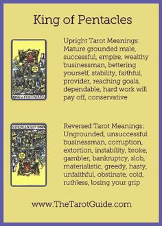 King of Pentacles Tarot Flashcard showing the best keyword meanings for the upright & reversed card, free online Minor Arcana flashcards, made by professional psychic Tarot reader, The Tarot Guide, the easy way to learn how to accurately read Tarot. Tarot Cards For Beginners, Online Tarot, Tarot Astrology, Tarot Card Meanings, Tarot Spreads, Tarot Readers, Pentacle, Card Reading, Free Reading