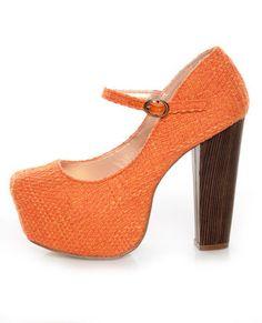 Shoe Republic LA Grand Orange Tweed Mary Jane Platform Heels $39.00