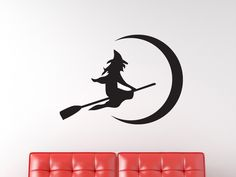 Flying Witch on a Broom Vinyl Wall Decal