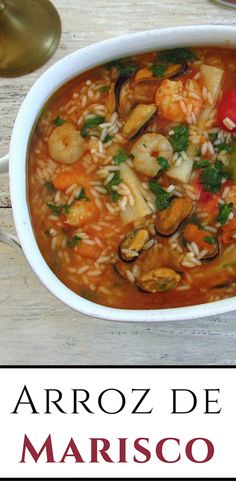 Want to prepare a tasty food for a special occasion? This seafood rice recipe has excellent presentation and is ideal for serving in a family lunch. Try it, you gonna love it! Seafood Rice Recipe, Rice Recipes, Seafood Recipes, Dinner Recipes, Cooking Recipes, Healthy Recipes, Fish Dishes, Seafood Dishes, Seafood Stew