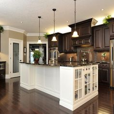 dark cab white island floors pendents love love probably white cab as well · Dark Wood CabinetsKitchen ... & Kitchens With Dark Cabinets