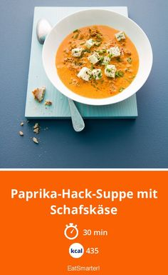 Paprika-Hack-Suppe mit Schafskäse - Essen und TrinkenPaprika-chopped soup with feta cheese - smarter - Calories: 450 Kcal - Time: 25 min. Ketogenic Recipes, Paleo Recipes, Low Carb Recipes, Soup Recipes, Cooking Recipes, Shrimp Recipes, Cheese Recipes, Easy Recipes, Law Carb