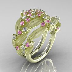 Nature Classic 14K Green Gold Light Pink and White Sapphire Cluster Leaf and Vine Engagement Ring Wedding Band Set R343SS-14KGRGWSLPS