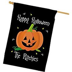 "Personalized Halloween House Flag, Black 29""w x 43""h, Polyester"