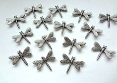 Decorative Dragonfly Push Pins. Made in USA of lead free metal.  Has a nail on back to push into soft wood or bulletin board!T-105AS  Antique-Silver-