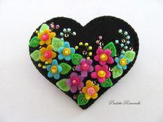 Felt Flower Heart Pin by Beedeebabee on Etsy, $24.00