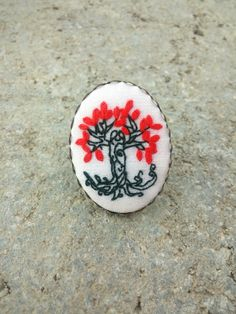 Tree of Life Ring, Statement Ring, Leaf Ring, Boho Ring, Big Ring, Fabric Ring, Unusual Gift