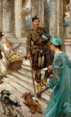Wounded Officer of the Cameron Highlanders, 1913 by Edgar Bundy (British 1862–1922)